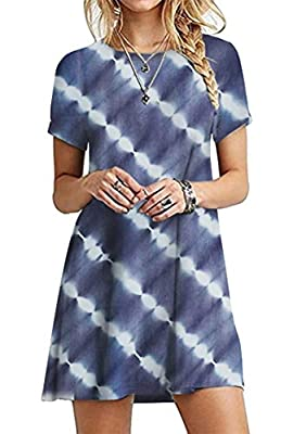 Material: Soft Fabric(average,soft,comfortable to wear). Flowy dress, A-line Casual Dress. Tank dress,Solid Color, Round Neck, Above Knee Length, Short Sleeve, Two handy pockets. Package: 1pcs x Women Tunic Dress. Please refer to size info in size ch...