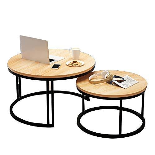 Table XIA Juego de 2 mesas Laterales Redondas, Mesa de Centro con Patas de Metal, Mesa Lateral multifunción, Mesa de Comedor, balcón, 7 Colores (Color : A)
