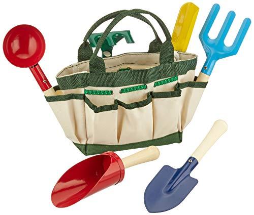 Small Foot 1710 Sac pour le jardin ou plage, 6 outils et un arrosoir dans un sac de transport, à partir de 3 ans