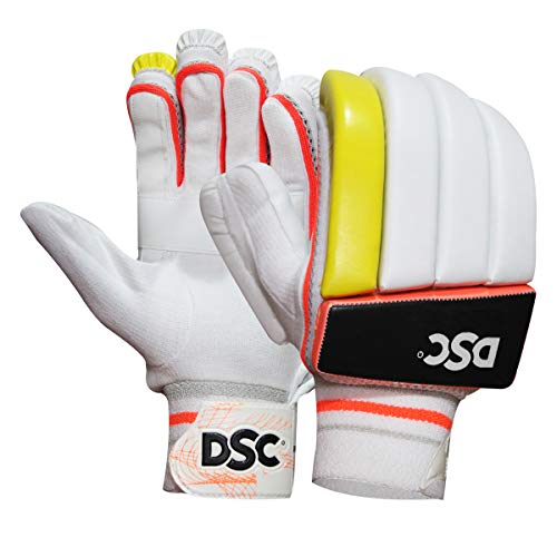 DSC Intense Force Leather Cricket Batting Gloves, Boys Left (White Fluro Yellow)