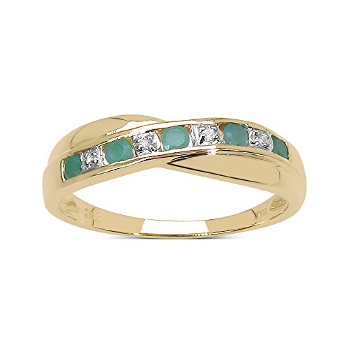 La Colección Anillo Diamante: Anillo Oro 9ct Esmeralda y set cruzado Diamante, Perfecto para Regalo, Anillo de eternidad de Aniversario, Compromiso Talla del anillo 16,5
