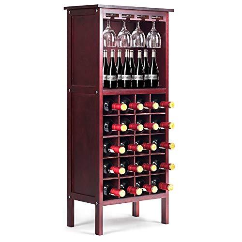 Giantex - Portabottiglie Cantinetta per Vino in Legno per 20 Bottiglie, Scaffale per Bottiglie di Vino con 4 Porta Calici, Vintage, per Cucina, Bar, 42 x 24,5 x 96 cm (Marrone)