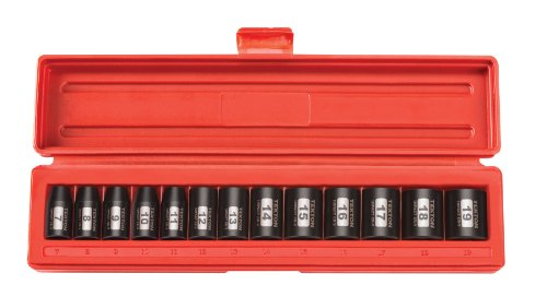 TEKTON 3/8-Inch Drive Shallow Impact Socket Set, Metric, Cr-V, 6-Point, 7 mm - 19 mm, 13-Sockets | 47915