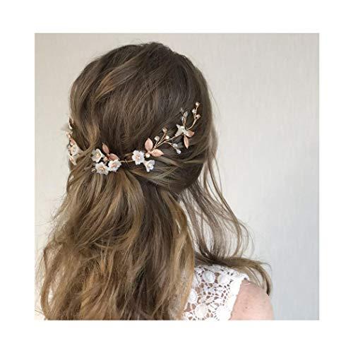 IYOU diadema nupcial con diseño de flores y perlas vides de