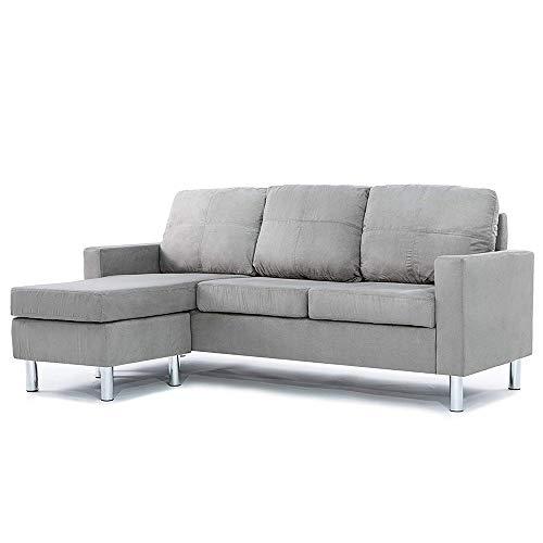 Casa Andrea Milano LLC Modern Sectional Sofa-Small Space Reversible Configurable Couch, Grey Microfiber