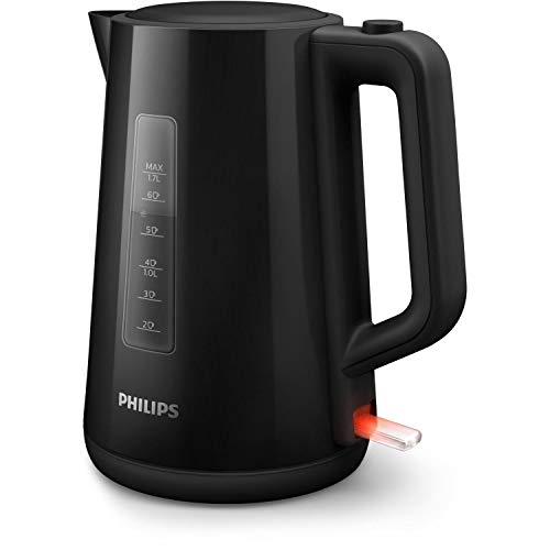 Philips Hervidora serie 3000 HD9318/20 - Hervidor de agua eléctrico de plástico, capacidad 1.7 l, 2200w, indicador luminoso de encendido, tapa abatible con un botón, negro