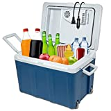 Ivation Electric Cooler & Warmer with Wheels & Handle |48 Quart (45 L) Portable Thermoelectric Fridge For vehicles & Trucks| 110V AC Home Power Cord & 12V Car Adapter for Camping, Travel & Picnics