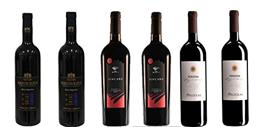 6 bottiglie di Vino vari uvaggi DOC Sardegna cl.75 (2 Cannonau Sincaru DOC - 2 Monica Perdera DOC - 2 Mandrolisai DOC)