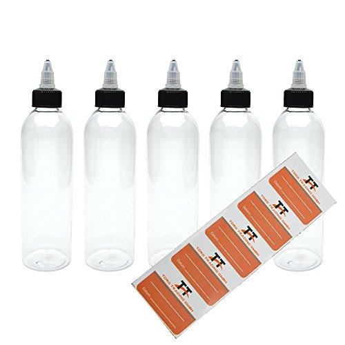 TORG TRADING 5 x 250 ml bottiglie di plastica in Pet con coperchio Twist-Off - Bottiglia vuota - Gocciolatoio, dosatore, Dropper bottiglie, 5 etichette