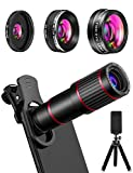MACTREM Phone Camera Lens Phone Lens Kit 9 in 1, 20X Telephoto Lens, 205° Fisheye Lens, 0.5X Wide Angle Lens & 25X Macro Lens(Screwed Together), Compatible with iPhone 8 7 6 6s Plus X XS XR Samsung