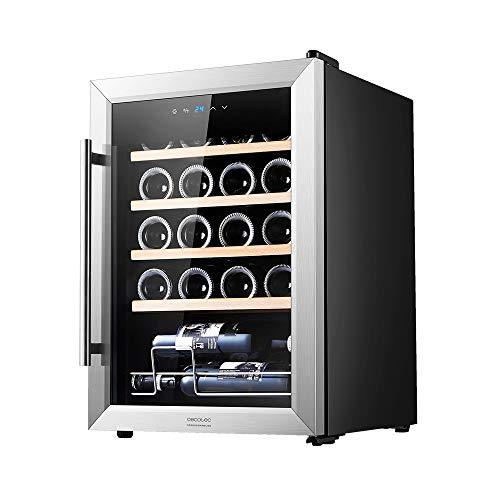 Cecotec, Cantinetta GrandSommelier 20000 INOX Compressor. 20 bottiglie, con compressore, elevate prestazioni garantite, temperatura regolabile, classe di efficienza energetica A