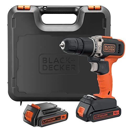 BLACK+DECKER BCD003C2K-QW Trapano Avvitatore a percussione 18 V, 2 Batterie-1.5Ah e Valigetta