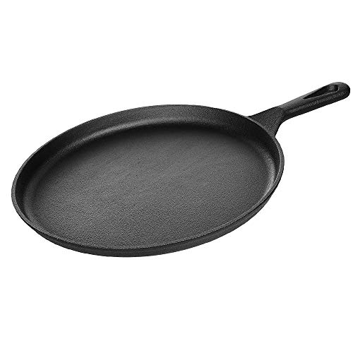 Kookantage Cast Iron Round Griddle 10.5 Pan - Pre-Seasoned Skillet with Handle Grip Grill or BBQ Hot Plate Pans
