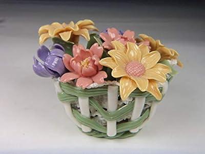 Fine Elegant Porcelain Mums & Daisy Flowers in Hand Woven Basket Figurine, Handmade