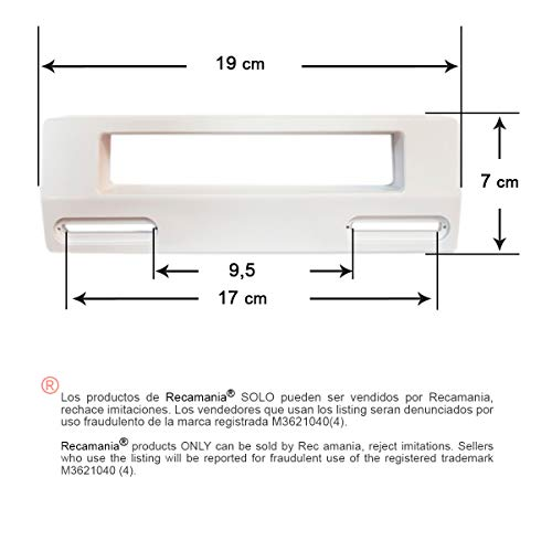 Recamania®- Maniglia universale bianco regolabile per frigoriferi e freezer Misure 190x70mm