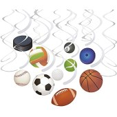 30-Count Swirl Decorations - Ball Party Decorations, Sports-Themed Party Streamers, Football, Basketball, Baseball-Style Hanging Decor, 10 Assorted Designs - Hanging Length: 34.25 to 36.25 Inches