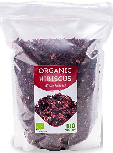 Bio Hibiskusblüten getrocknet | Organic Hibiskustee | Große Blätter für Teemischungen | Premium Qualität | 1Kg BIO| aus Ägypten