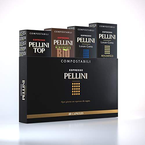 Pellini Caffè - Espresso Pellini Confezione Gift Box (mix multigusto da 40 Capsule), Livello di tostatura Medio, Compatibili Nespresso