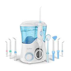 Idropulsore Dentale con 8 Beccucci Multifunzione, Apiker Irrigatore Orale da Capacità 600ml con 10 Impostazioni per la Pressione dell'Acqua, 20-150 psi, per Cura Famiglia e Cura Dentale