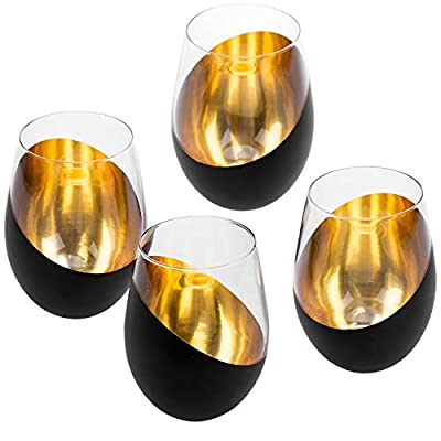 Set of 4 stemless wine glasses embellished with matte black and gold plating **Hand wash only** Each glass is perfect for 5 oz pours, can hold up to 8 oz of wine to the rim Matte black and gold plating give the glasses a stylish contemporary aestheti...