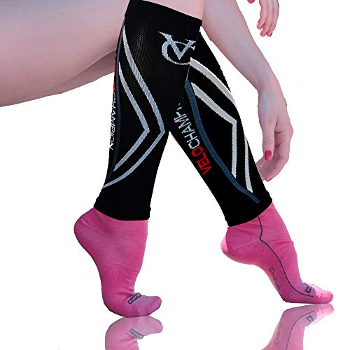 VELOCHAMPION Recovery Compression Calf Guards Sleeves Men & Women (20-30mmhg) Best for Shin Splints, Sports, Travel, Leg Pain, Varicose Veins, Deep Vein Thrombosis DVT, Nurses & Maternity Pregnancy