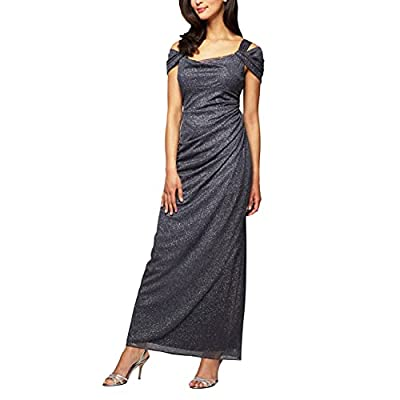 Full-length glittery gown with cold shoulders featuring side ruching Concealed back zipper