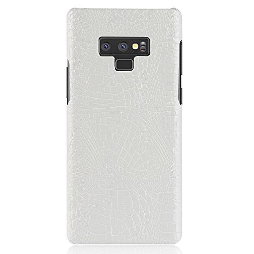 Para Samsung Galaxy Note 9 capa de couro sintético com estampa de crocodilo (Branco)