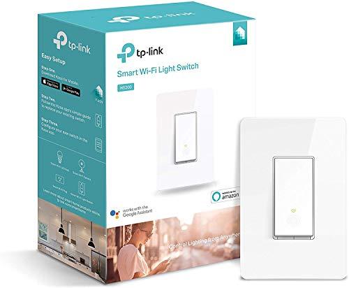 TP-LINK HS200 Kasa Smart Wi-Fi - Interuptor inteligente de luz, control de dispositivos desde cualquier lugar, funciona con Amazon Alexa, blanco, 5.04' x 1.77' x 3.35'