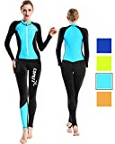 COPOZZ Diving Skin, Men Women Youth Thin Wetsuit Rash Guard- Full Body UV Protection - for Diving Snorkeling Surfing Spearfishing Sport Skin (Black/Blue, Large for Women)