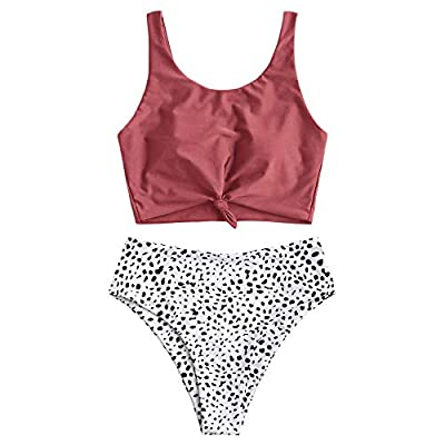 Crop top features thick shoulder straps and a neatly knotted hem. High waist and elasticity bottom provides coverage in all the right places. Material: Polyester,Spandex. Quick-drying, Pro-skin, High flexibility and elasticity .The fabric will have c...