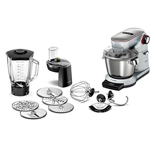 Bosch MUM9DT5S41 OptiMUM Küchenmaschine (1500 W, 3 Profi-Rührwerkzeuge Edelstahl, spülmaschinenfest, Automatikprogramm, 5,5 Liter, Teigmenge 3,5kg, Durchlaufschnitzler 5 Scheiben, Mixer) silber