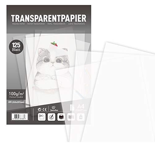 Sweelov 125 Blatt Transparentpapier Papier Transparent bedruckbar DIN A4, 100 g/m² Pauspapier zum Zeichnen Basteln Premium Qualität