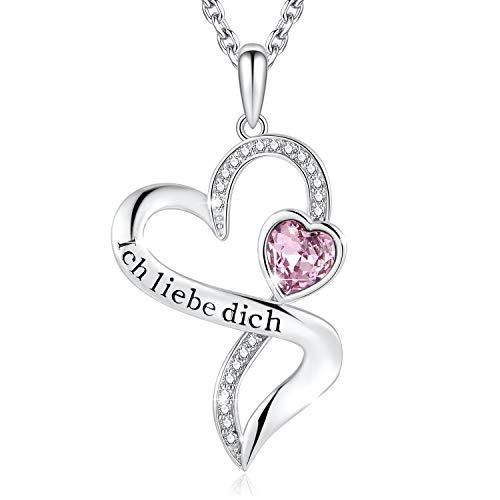 Herzkette mit Gravur'Ich Liebe Dich' Kette Damen Silber 925 Zirconia von Swarovski Halsketten für...