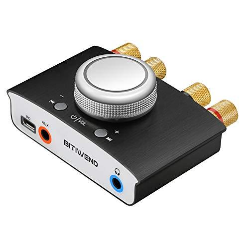 Bluetooth-Verstärker, Mini-HiFi-Kopfhörerverstärker Audio-Leistungsverstärker, Stereo-HiFi-Digitalverstärker 2.0-Kanal 50W 2 mit AUX / USB / Bluetooth-Eingang, Lautsprecher- / Kopfhörerausgang