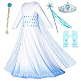 Princess Snow Queen Act 2 Costumes Birthday Party Dress Up For Little Girls with Wig,Crown,Mace,Gloves Accessories 4T 5T