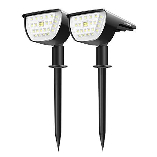 Claoner 32 LED Luci Solari da Esterno, Faretti Solari da Giardino Impermeable IP65 Illuminazione Giardino Solare 2-in-1 con 3 Livelli di Luminosit per Piscina, Cortile, Vialetto, Patio, Alberi