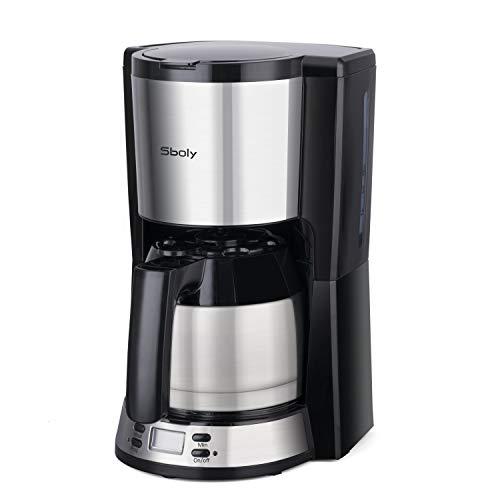 Sboly Filterkaffeemaschine mit Thermo-Kanne, programmierbarer Kaffeebrüher, einstellbar von 2-8 Tassen mit großem Fassungsvermögen, kaffeemaschine mit Anti-Tropf-Funktion, kompatibel mit Kaffeemehl