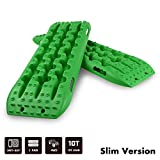 STEGODON New Recovery Traction Tracks Slim(Set of 2), Recovery Traction Mats Sand Snow Mud Track Off Road Tire Ladder 4WD(Green-Slim)