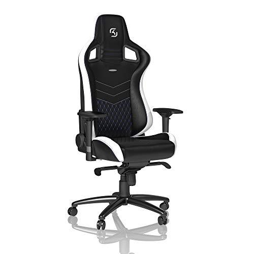 noblechairs Epic Gaming Stuhl - Bürostuhl - Schreibtischstuhl - PU-Kunstleder - Inklusive Kissen - Schwarz/Weiß/Blau