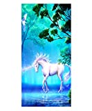 3D Unicornio Caballo Toalla de Playa Microfibra Grande Gigante Doble de Secado Rápido para Viajar Gran Tamaño para Niña Niños Extra Grande Toallas de Baño xxl Divertidas (150 x 200 cm,azul)