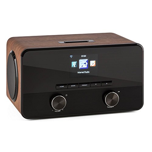 TESTURTEIL: SEHR GUT auna Connect 100 WN - Internetradio, Digitalradio, WLAN-Radio, Bluetooth, AUX, USB, 2 Breitbandlautsprecher, Wecker, Farbdisplay, Dimmfunktion, Holzfurnier, walnuss