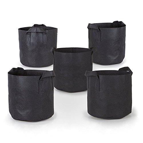 PQZATX 5Pcs/ Sack, schwarzer Stoff, Vliesstoff, oekologischer Pflanzsack