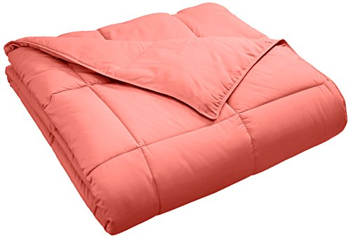 SUPERIOR Classic All-Season Down Alternative Comforter with Baffle Box Construction, Twin, Coral