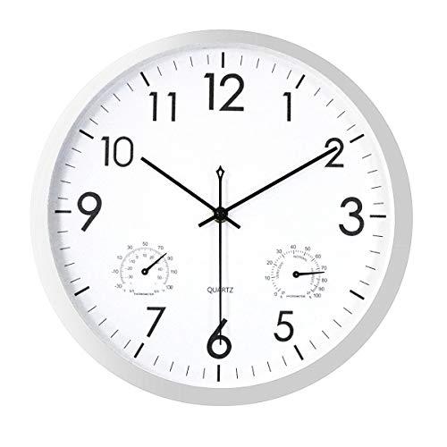Foxtop Moderno Orologio da Parete Silenzioso con Termometro e Igrometro Display 30 cm Argento