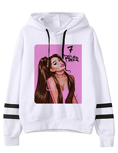 KIACIYA Trend Singer Ariana Grande Hoodie for Women,Ariana Grande 7 Rings Sweatshirt Hoodie Pullover SportsWear Solid Color Long Sleeve for Girl Woman (25,S)