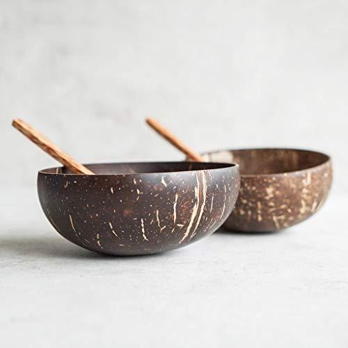 Schalen und Löffel aus Kokosnuss, 2-er Set, handgefertigt