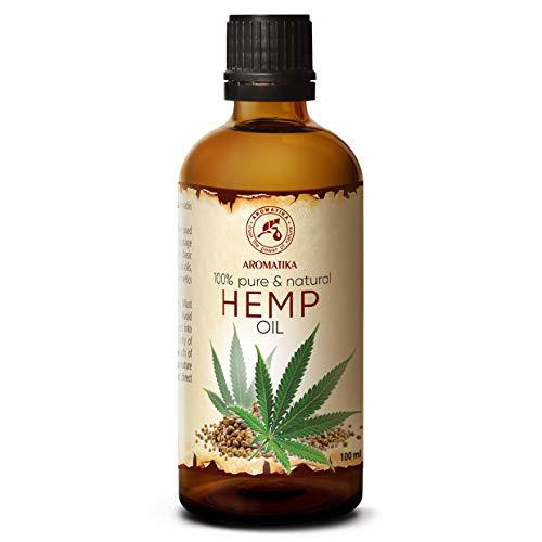 Aceite Cáñamo 100ml - 100% Puro & Natural - Prensado en Frío - Aceite Base - Cannabis Sativa Seed Oil - Cuidado Intensivo para Rostro - Piel - Cabello - Cuerpo - Masajes de Belleza