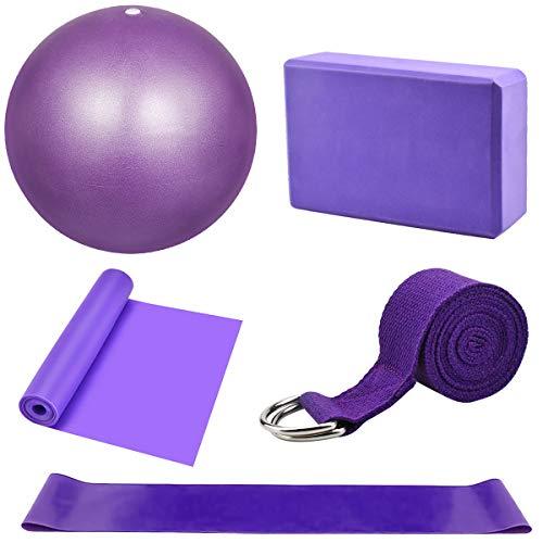 Dokpav Kit de Accesorios para Pilates Set de 5 Bandas Elásticas Fitness,Goma elasticas...