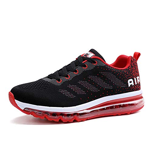 Smarten Zapatillas de Running Hombre Mujer Air Correr Deportes Calzado Verano Comodos Zapatillas Sport Black Red 43 EU