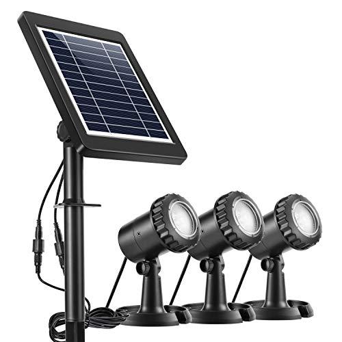 Ankway Solarspots Unterwasserstrahler LED Teichbeleuchtung Solar mit DREI Spots wasserdicht IP68 Solar Spotlight Licht Sensor für Pool or Garten- weiß
